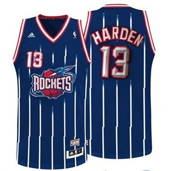 James Harden #13 Houston Rockets Stripe Blue Throwback