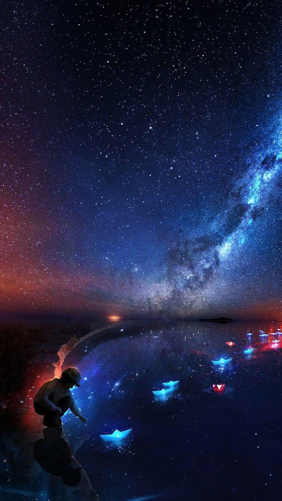 Starry Night Starry Night Wallpaper Galaxy Wallpaper Fantasy Landscape