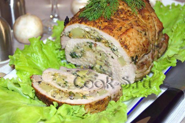 рулет из свинины с начинкой запеченный в духовке ...