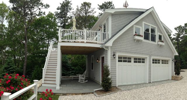 Have Double High Garage Door On Back Side Detached With Deck Loft Traditional And Shed