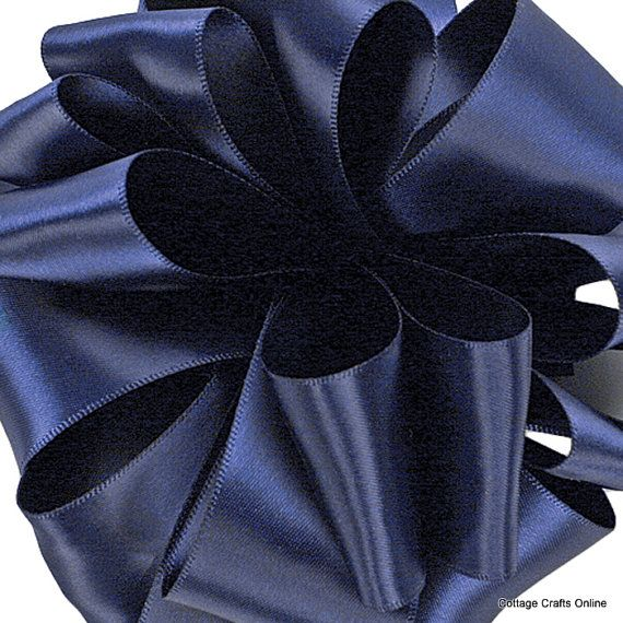 Satin Ribbon 1 12 Wide Navy Blue Double Faced Fifty Yard Roll