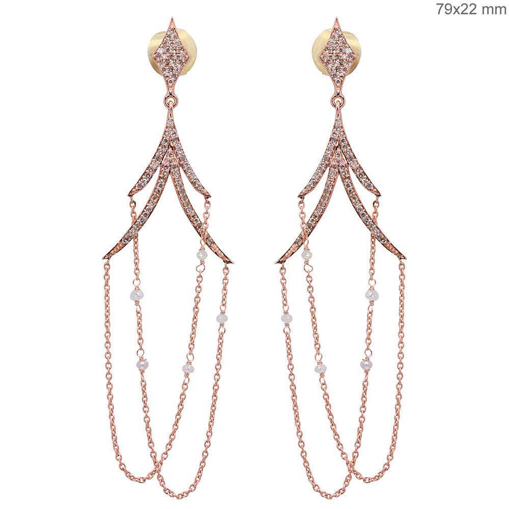 Solid 18k rose gold diamond bead chain dangle chandelier earrings solid 18k rose gold diamond bead chain dangle chandelier earrings same day ship handmade arubaitofo Choice Image