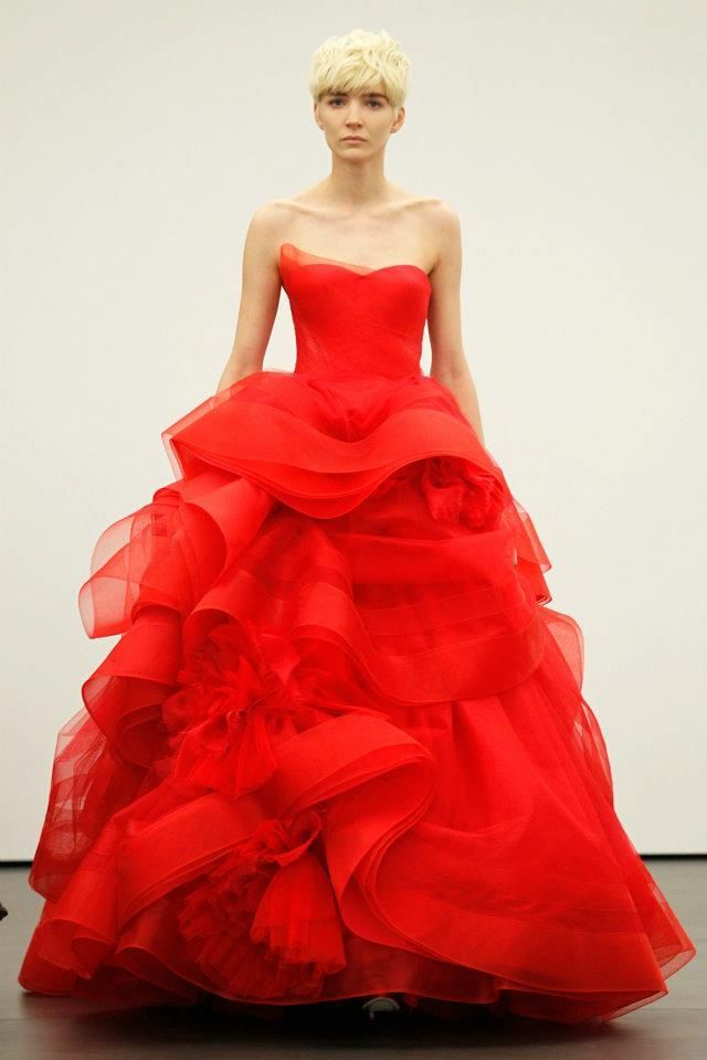 605c704cd0dad Spicy red ball gown by Vera Wang. What do you guys think of Vera Wang's new  line of bridal gowns in red? Too offbeat? Or a fresh twist?
