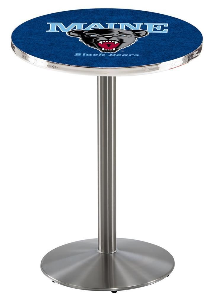 673d9c5d8c8 Maine Black Bears Pub Table With Stainless Steel Base