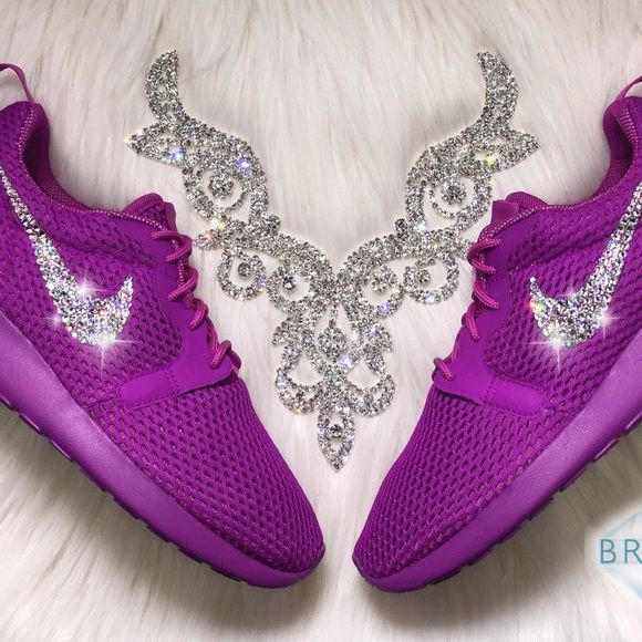 e5def536ba71 Swarovski Nike Roshe Hyperfuse BR Shoes In Purple Authentic Women s New Nike  Roshe Hyperfuse BR Women s Shoes in Purple Outer swooshes are encrusted  with ...