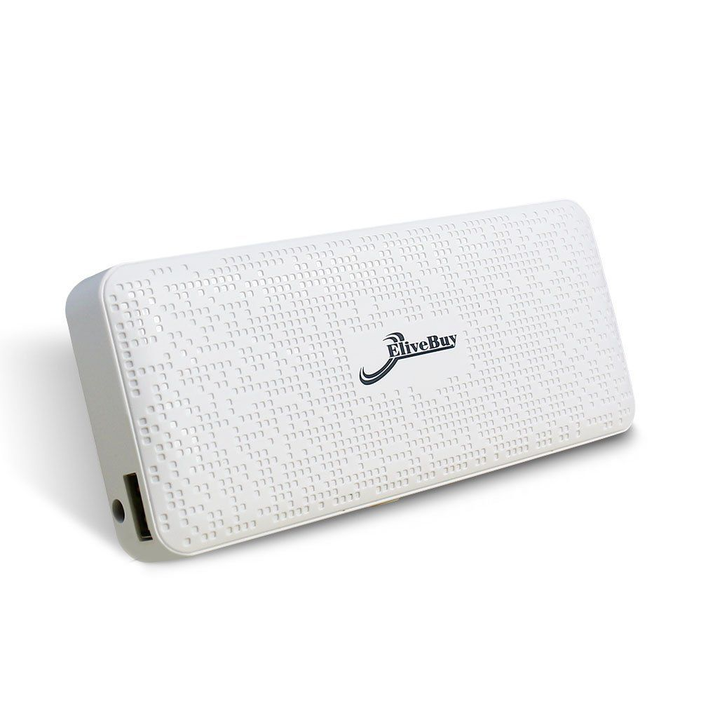 Nice Texture - [Built-in TI Power Management] - Elivebuy® [Mosaics Series] 13000mAh Dual Smart USB Output Port External Portable Battery Pack Charger Power Bank for ipad Air 2 ;ipad Mini 3 ; Apple iphone 6 / 6 Plus 5s 5c 4s 4 (Lightning Adapter Not Included) ; Samsung Galaxy S4 S5 ;Tab 2, Note 3 2; LG G3 ; Nexus 5;HTC One M8, MOTO X, PS Vita and More - White