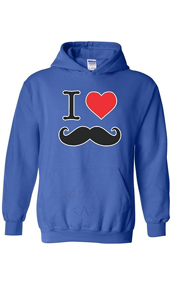 Artix I Heart Mustache Unisex Hoodie Sweatshirts Medium Royal Blue Best Price