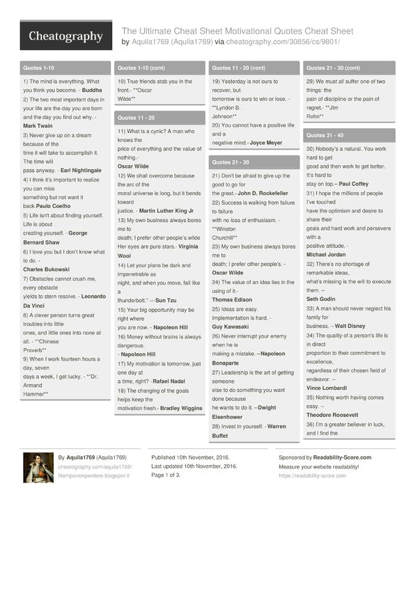 The Ultimate Cheat Sheet Motivational Quotes Cheat Sheet