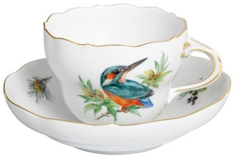 Meissen Teacup and Saucer decorated with a Kingfisher Bird