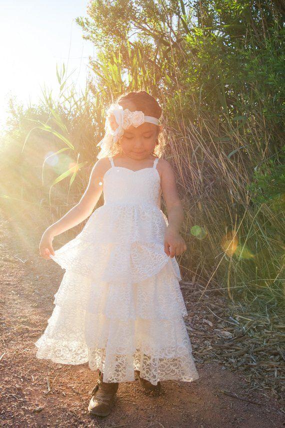 5068f25d8af Beach Boho Flower Girl Dress