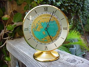 Vintage swiss imhof world time desk clock 15 jewels 8 days desk vintage swiss imhoff desk clock with map gumiabroncs Image collections