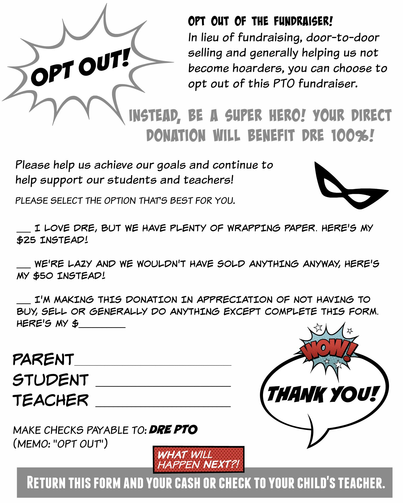 "give parents the option to ""opt out"" of pto/school fundraisers. this"