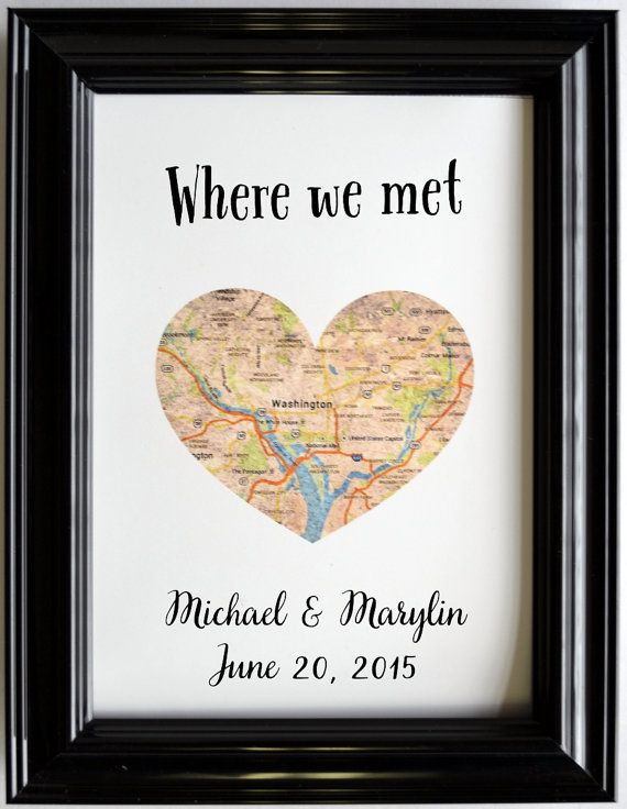 Custom Wedding Anniversary Gift For Couples Personalized Map Art ...