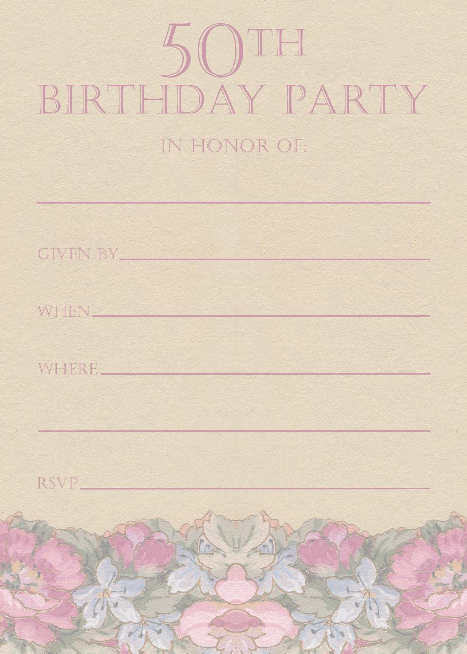 Free Printable 50th Birthday Party Invitation Templates | 50th ...
