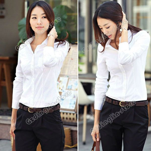 f2a54d6a9869 New Fashion Women's Ladies Long Sleeve Solid Color White Casual Business  Wear Tops Blouse Shirt S M L Free Shipping 0707(China (Mainland))