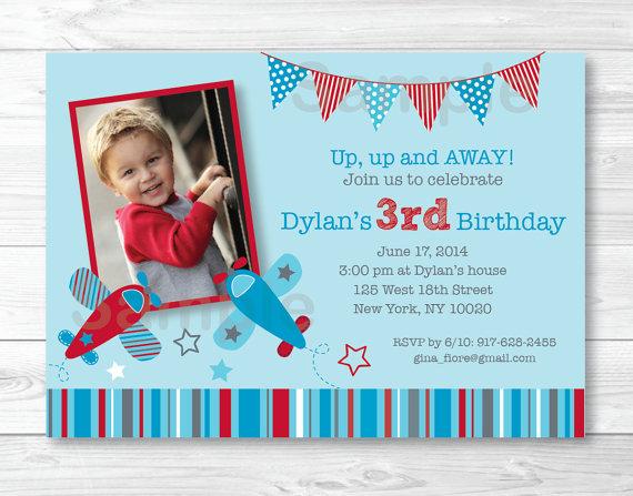 Cute Airplane Birthday Invitation Invite Red Blue Airplanes 1st