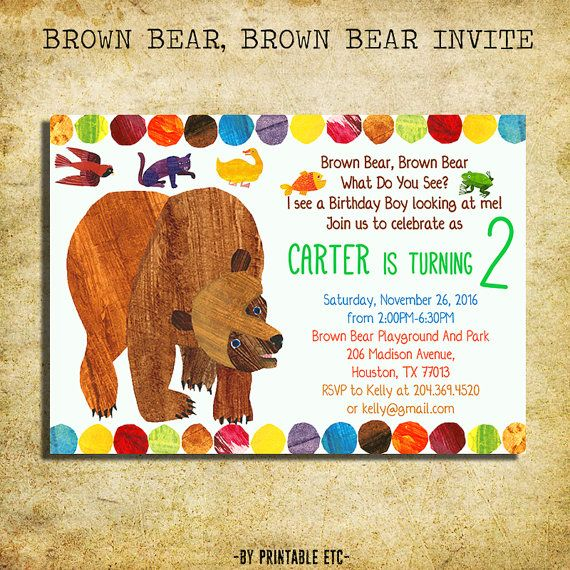 Brown Bear Invitation Brown Bear Brown Bear Birthday Party Brown Bear Brown Bear Birthday Bear Invitations Brown Bear Brown Bear Birthday Party