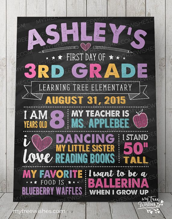 First Day of School Chalkboard Sign - 1st Day of School Sign - Back to School Sign - First Day of School Sign - School Printable Chalkboard #firstdayofschoolsign