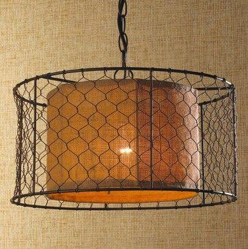 Chicken Wire with Burlap Drum Pendant - pendant lighting - Shades ...