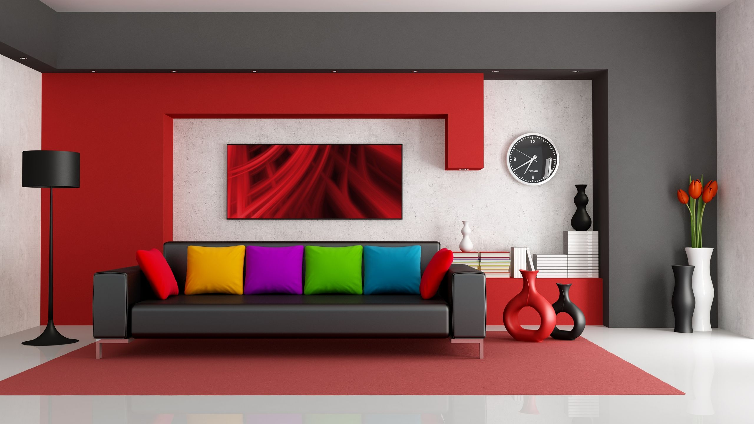 furniture outstanding red modern living room with slim screen tv and red furniture design also white wall paint with black sofa colorful pillow and black