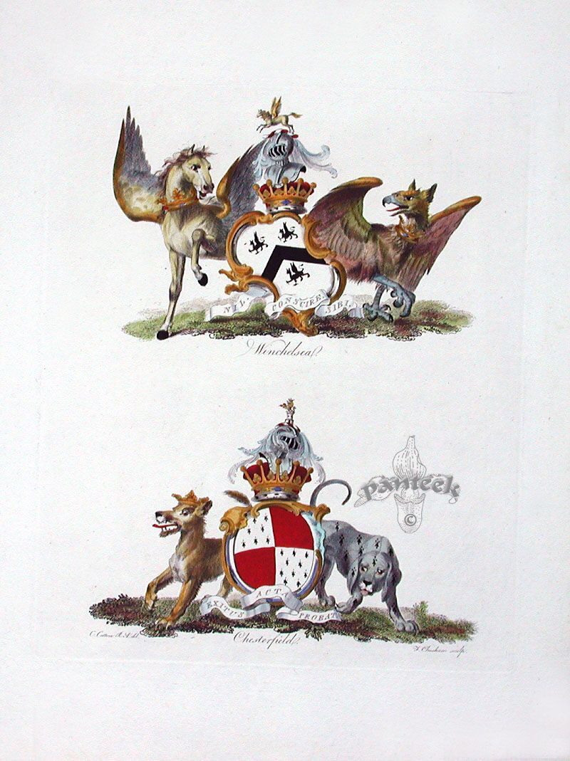 Antique prints of heraldic crests 1790 antique prints