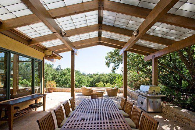 Aménagement terrasse avec auvent bois, plexiglas aluminium Patios