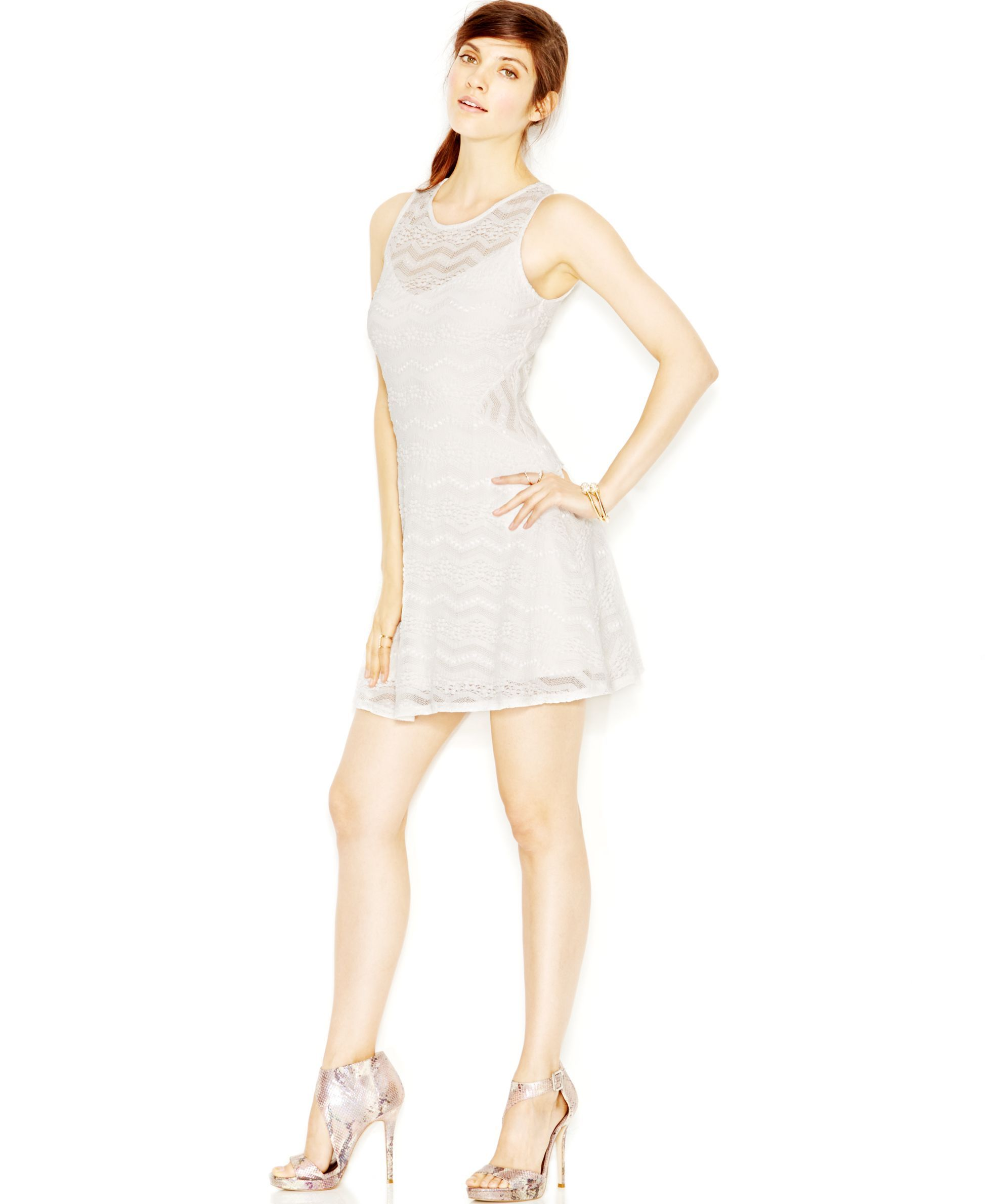 Guess fit u flare lace contrast dress products pinterest products