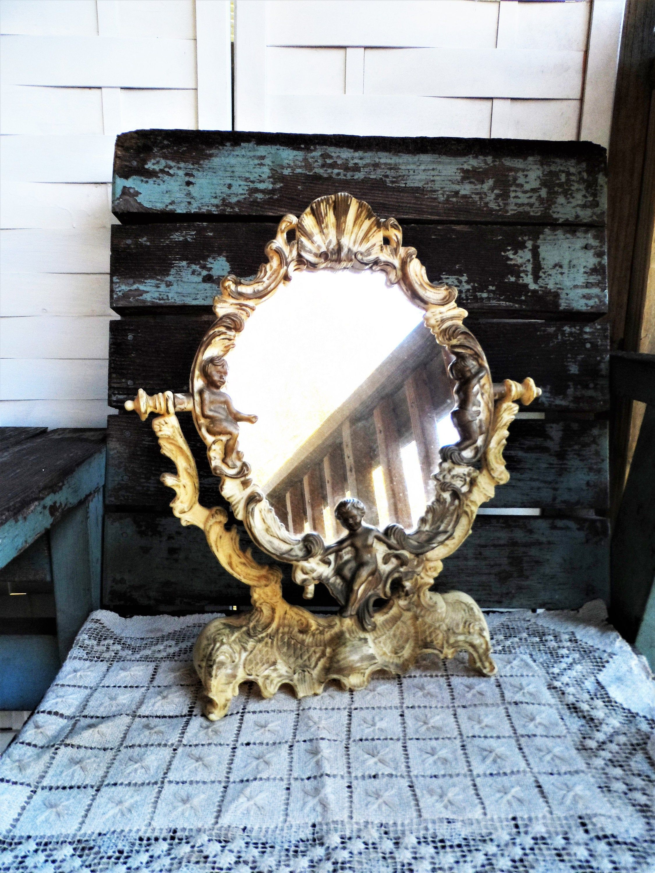 Vintage Vanity Swivel Mirror Stand French Country Ornate