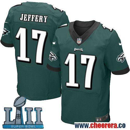 b5294d9f3 Nike Mens NFL Philadelphia Eagles 17 Alshon Jeffery Green 2018 Super Bowl  LII Elite Jersey ...