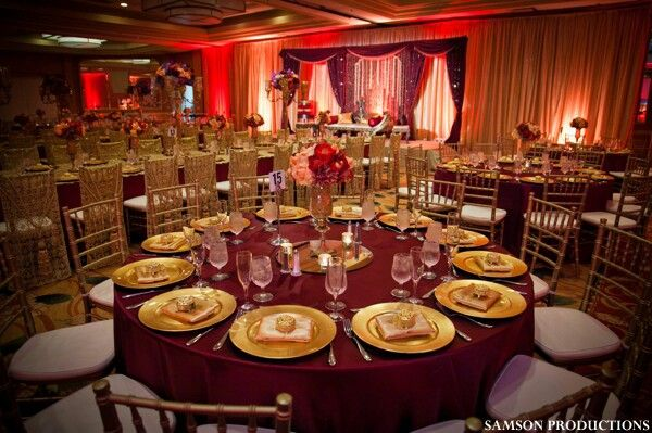 Tablesetting Ideas For Burgundy, Red And Gold Wedding Reception, Burgundy  Table Decorations