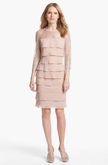 Mademod Alex Evenings Embellished Yoke Tiered Dress Petite