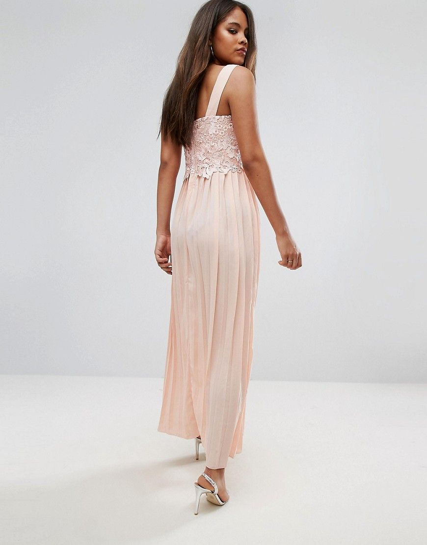 Little Mistress Tall Premium Lace Top Maxi Dress With