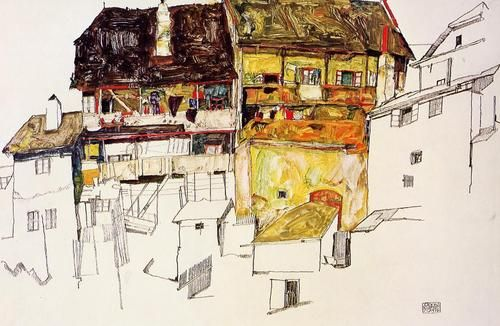 Old Houses in Krumau, Egon Schiele  1914