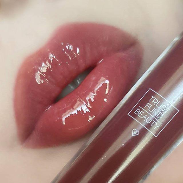 Lip Swatch Of Trustfundbeauty Lipgasm Lip Gloss In Blame Game