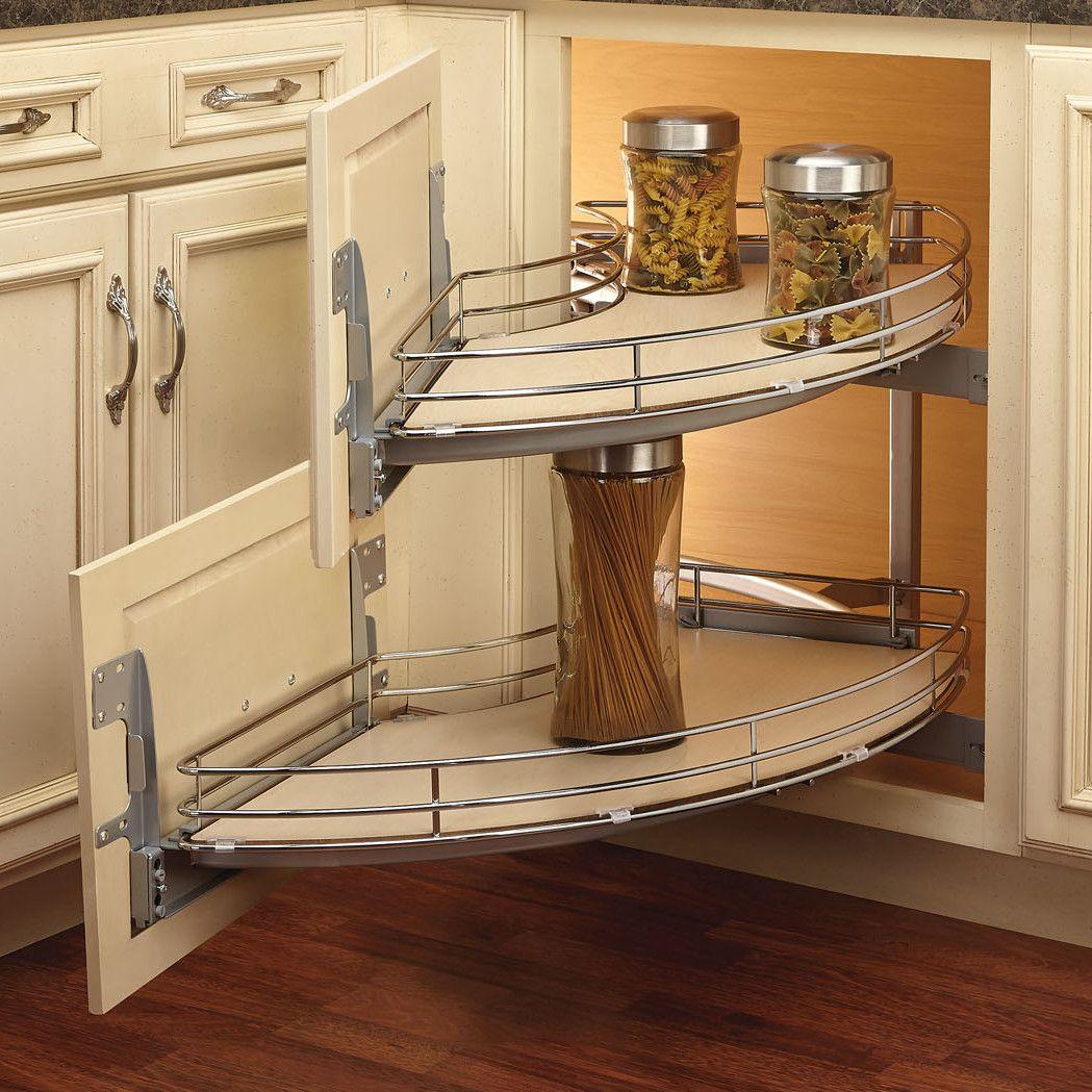 Curve 2 Tier Right Handed Blind Corner Cabinet Organizer Kitchen Cabinet Dimensions Corner Kitchen Cabinet Best Kitchen Cabinets