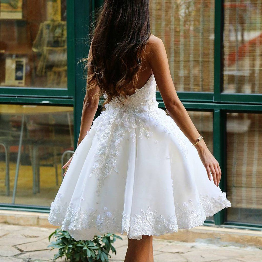 Chic lace sweetheart white homecoming dresses short prom dress