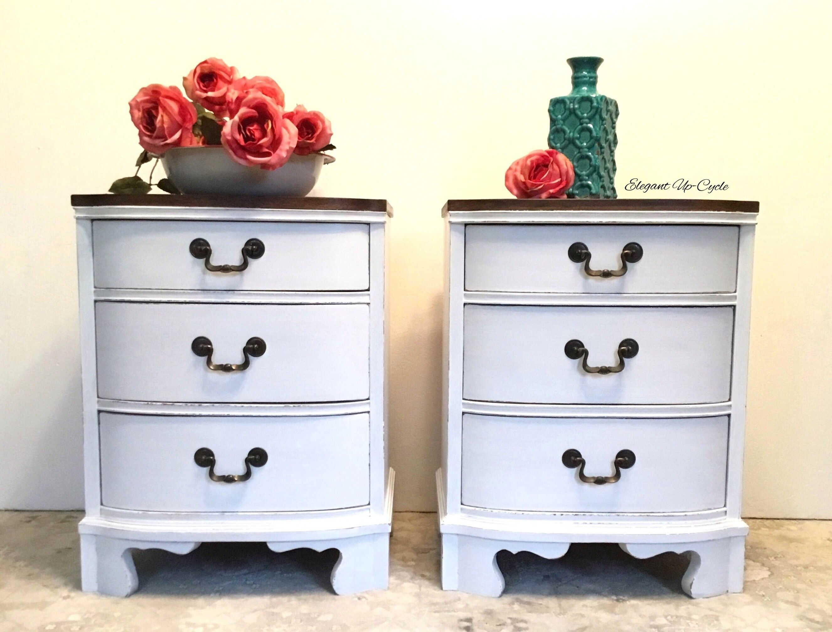 Stunning Pair Of Solid Wood Nightstands Painted White And