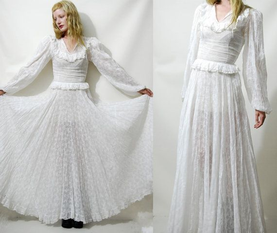 70s Vintage WEDDING DRESS White Lace Sheer Hippie Boho Bohemian Full ...