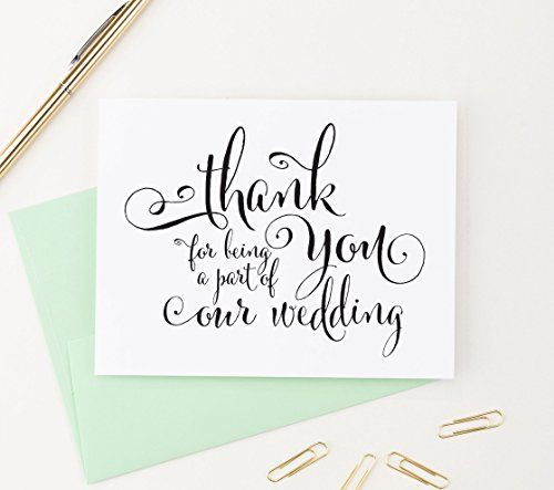 wedding thank you cards set thank you for being a part of