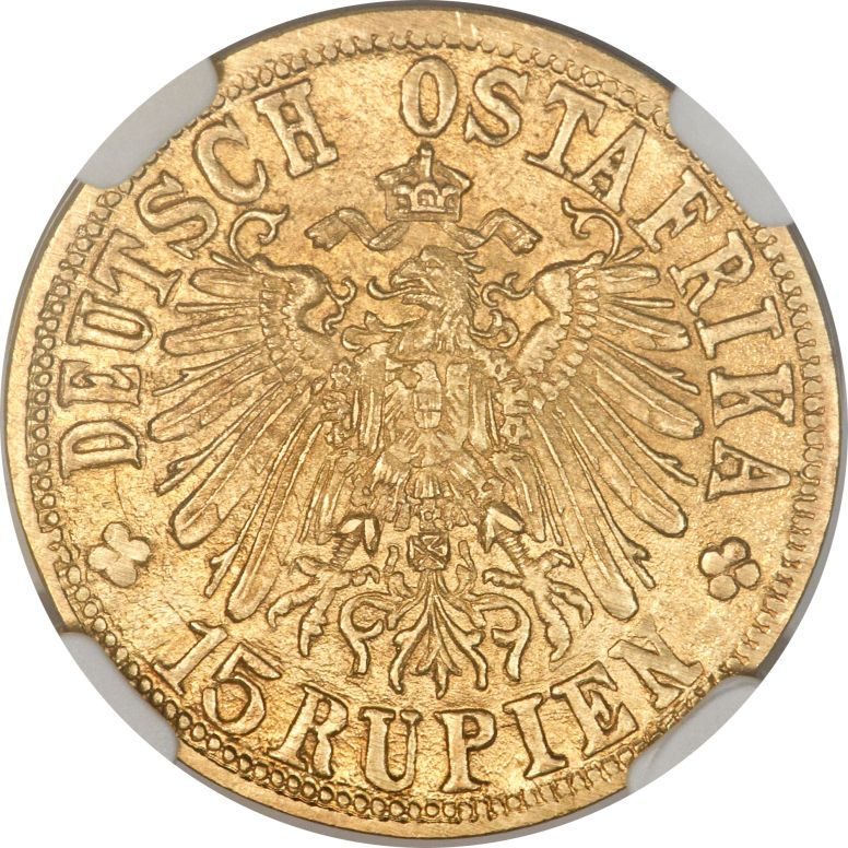 German East Africa, German East Africa: German Colony gold 15 Rupien 1916-T MS64NGC,...