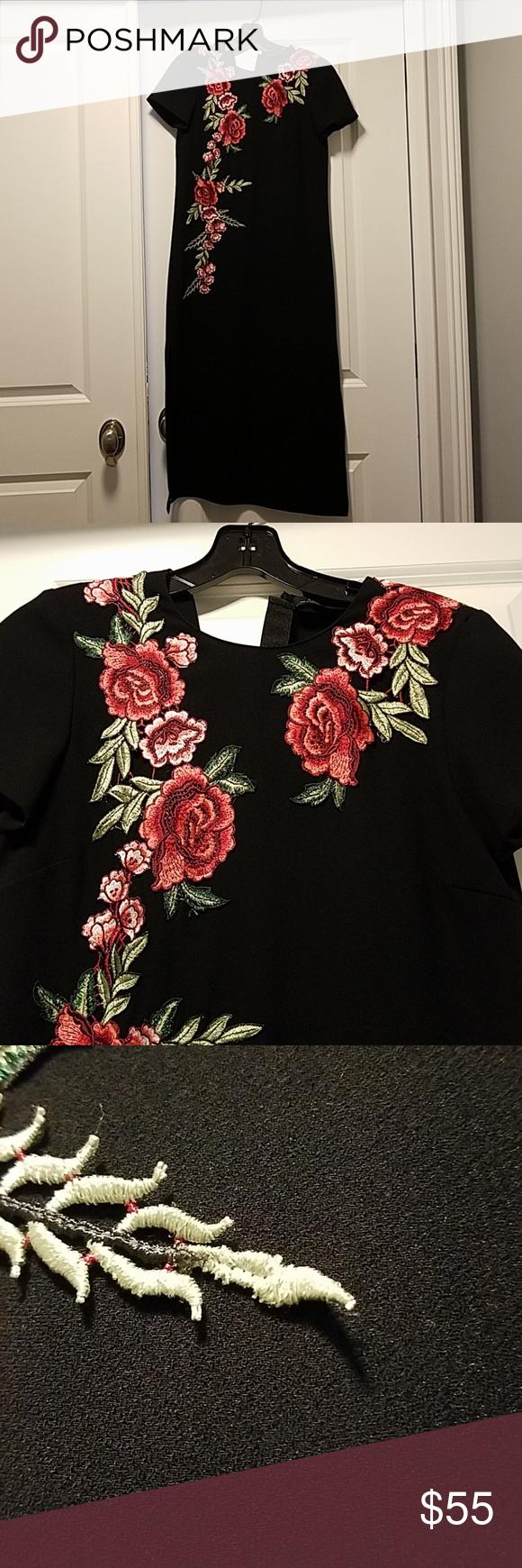Zara Midi Rose Floral Embroidered Dress Sz S Floral Embroidered Dress Rose Embroidered Dress Clothes Design [ 1740 x 580 Pixel ]