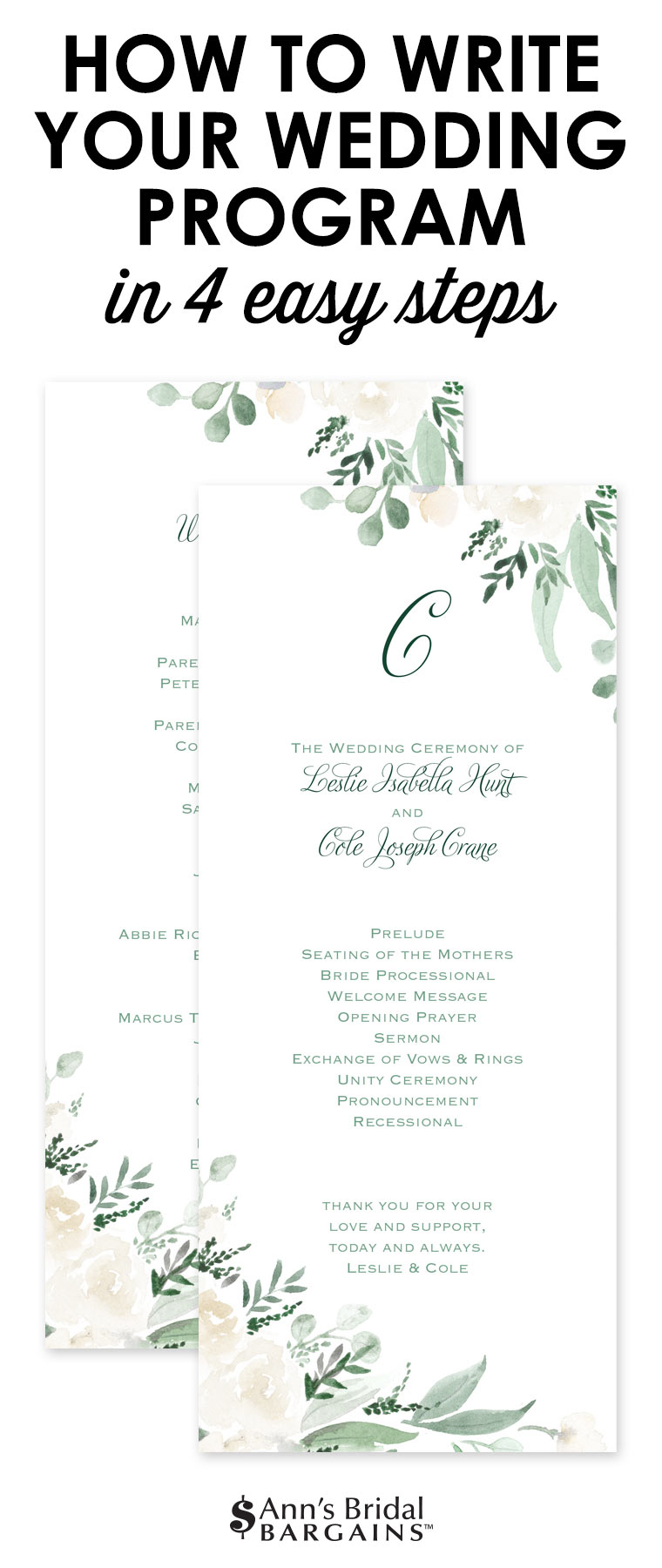 How To Write Your Wedidng Progam In 4 Easy Steps Wedding Program Etiquette Wedding Programs Cheap Wedding Programs