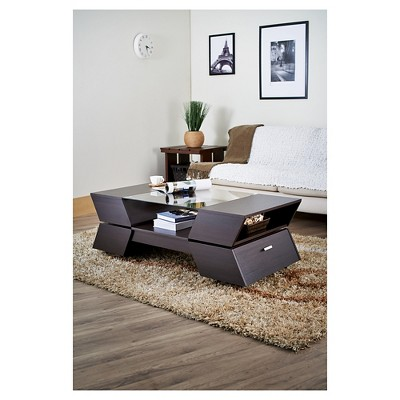 Kayce Modern Geometric Inspired Coffee Table Espresso (Brown) - Homes: Inside + Out