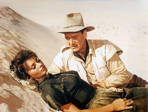 """Sophia Loren, John Wayne in """"Legend of the Lost"""" (Henry Hathaway, 1957)"""