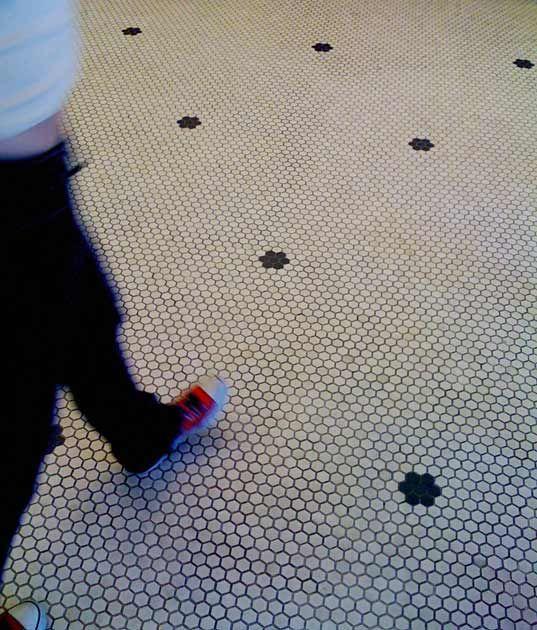black white hex tile flowers