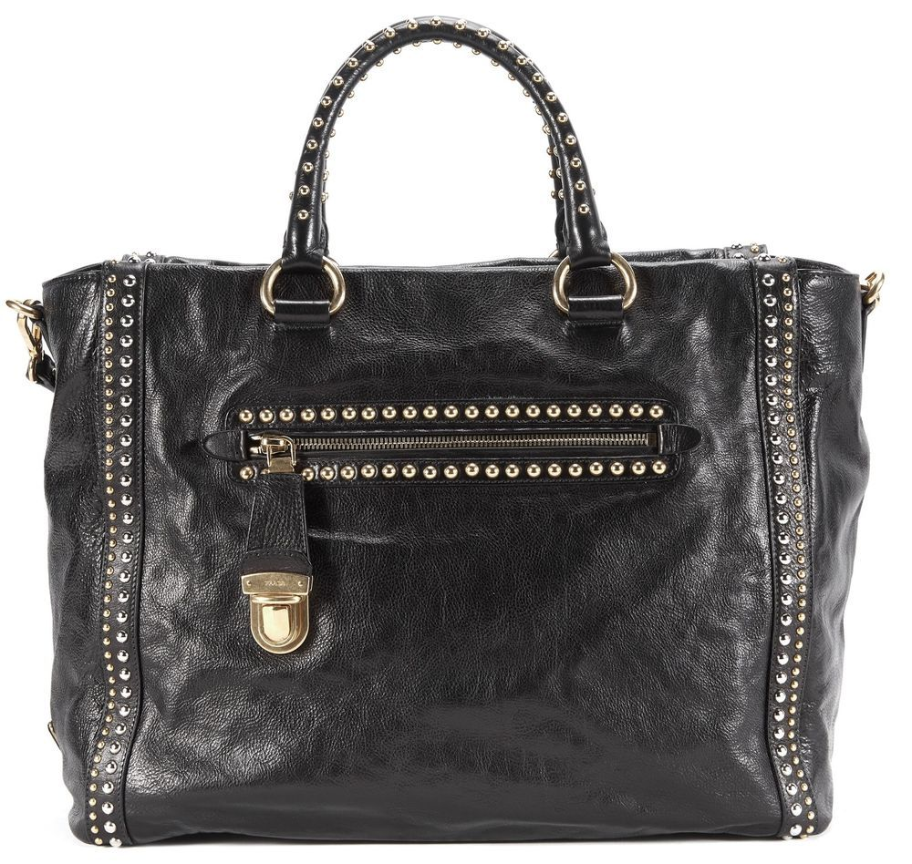 168f856e3f PRADA Black Glace Calf Leather Gold Silver Studded Tote Satchel Bag   shoulderbag  carrying  handbag  money  louisvatton