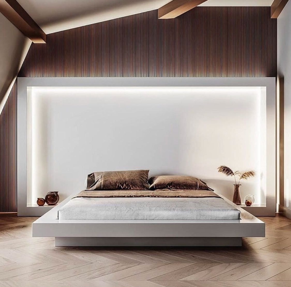 Backlit Headboard Wall Minimal Bedroom Design Bedroom Bed Design Modern Bedroom