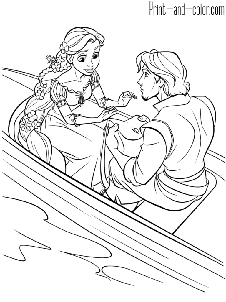 Rapunzel Coloring Page Flynn Rider Boat Rapunzel Coloring Pages Disney Coloring Pages Tangled Coloring Pages
