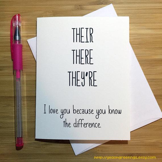 Funny Love Card Cute Sayings Good Grammar Anniversary Card