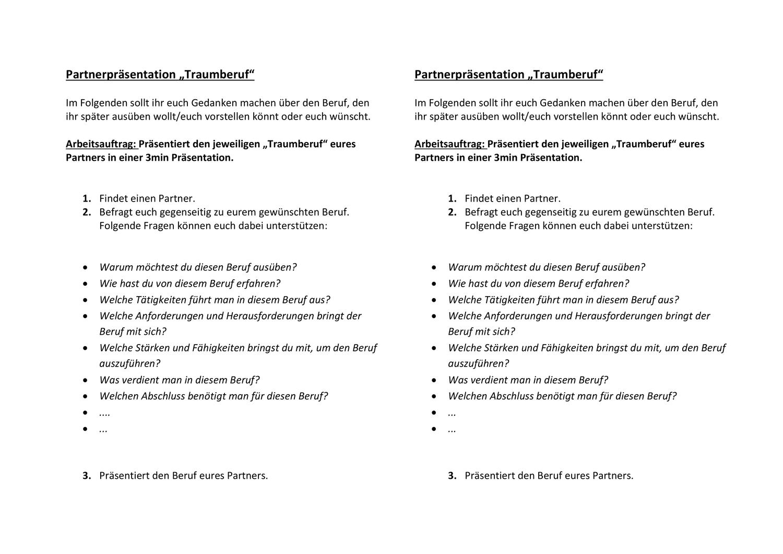 Partnerprasentation Traumberuf Unterrichtsmaterial In Den Fachern Arbeitslehre Deutsch In 2020 Traumberuf Berufe Unterrichtsmaterial